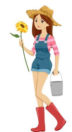 chapeau de paille: Illustration d'une fille en salopettes et un chapeau de paille tenant un tournesol avec une main et un seau avec l'Autre