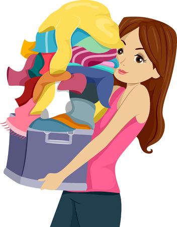 lavanderia: Ilustración de una chica que lleva una enorme pila de lavandería
