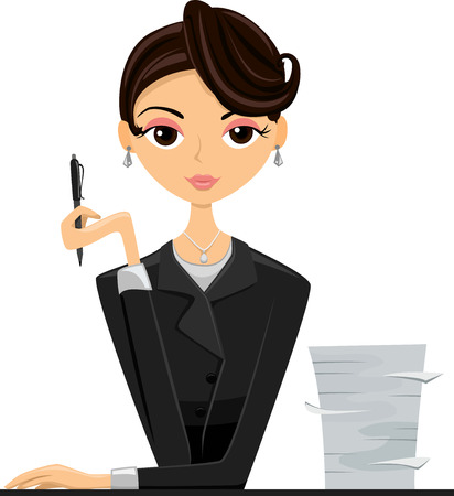 beside: Illustration of an Office Girl in a Black Suit Sitting Beside a Stack of Paper Stock Photo