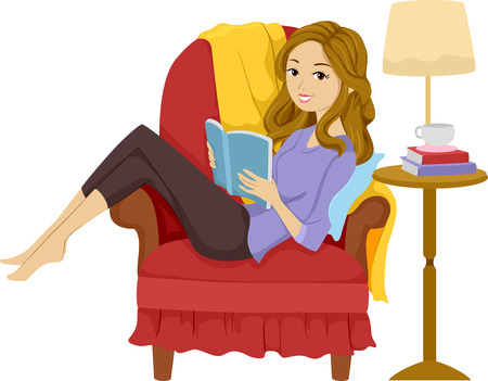 Illustratie van een meisje het lezen van een boek terwijl liggend op een stoel