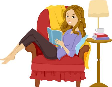 Illustration von einem Mädchen, das ein Buch im Liegen auf einem Stuhl Standard-Bild - 28160645