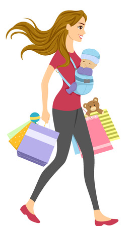 strapped: Illustration of a Woman with a Baby Carrier Strapped to Her Chest Carrying Shopping Bags