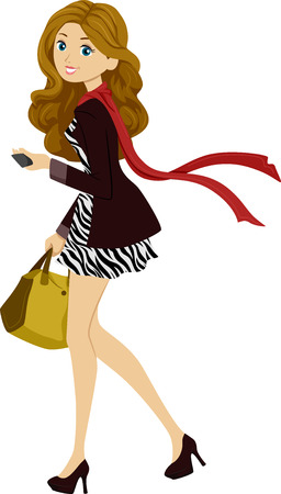 Illustration of a Female Student Wearing Fashionable Clothes Out on a Walk