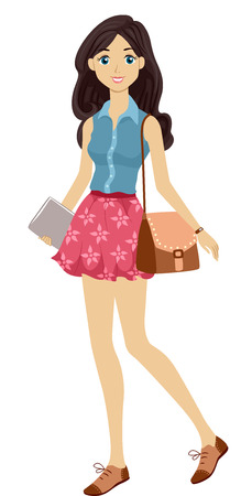 preppy: Illustration of a Young Female Student Sporting a Preppy Look Stock Photo