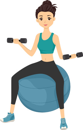 while: Illustration of a Girl Lifting Dumbbells While Sitting on an Exercise Ball