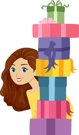 tall woman: Illustration of a Girl Carrying a Tall Stack of Gifts