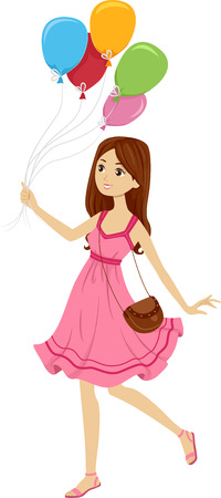 tied girl: Illustration of a Girl in a Cute Sunday Dress Holding on to a Group of Balloons Tied Together Stock Photo