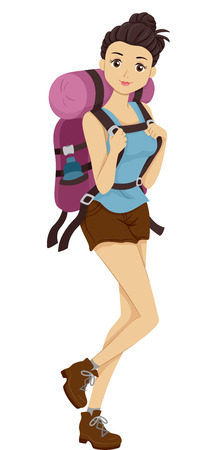 Illustration of a Girl Carrying Camping Gear Headed for a Hike Фото со стока
