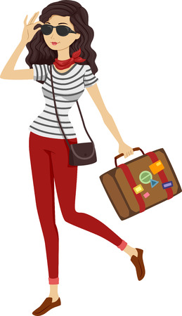 preadult: Illustration of a Woman in Stripes Carrying Vintage Luggage Stock Photo