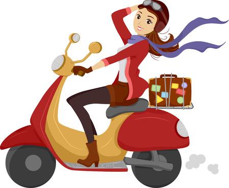 vespa: Ilustración de una niña feliz de conducir un scooter Foto de archivo