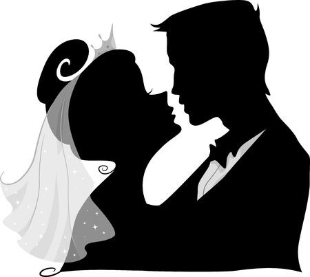 Illustratie die het silhouet van een bruid en bruidegom kussen
