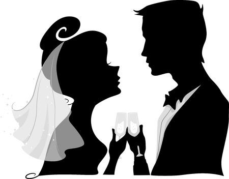 Ilustración con la silueta de un novio Novia y hacer un Brindis de boda