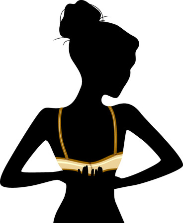 clasp: Illustration Featuring the Silhouette of a Woman Unclasping Her Bra