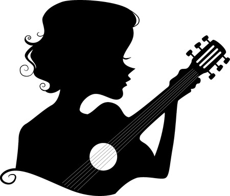 outline women: Illustration Featuring the Silhouette of a Girl Playing the Guitar