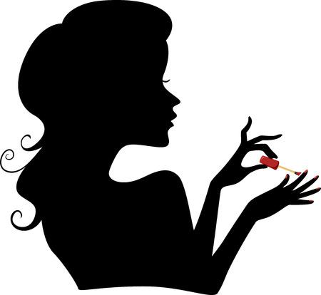 manicura: Ilustración con la silueta de una niña aplicar esmalte de uñas en sus uñas