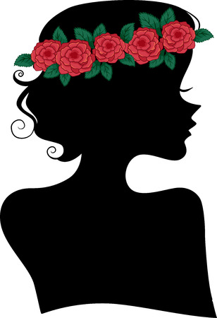 girl shadow: Illustration Featuring the Silhouette of a Woman Wearing a Headband Made of Roses