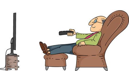 television antigua: Ilustración de un Hombre de ancianos sentados en una silla reclinable utilizar un control remoto para cambiar de canal