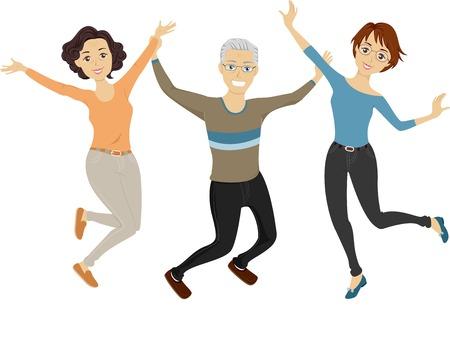 jump shot: Illustration of a Group of Senior Citizens Doing a Jump Shot