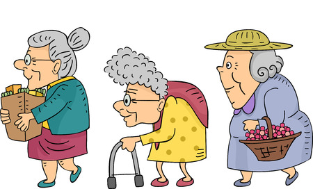 Illustration of Elderly Women Walking in a Line illustration