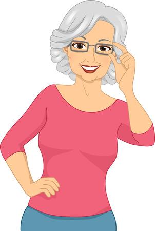 Illustration of an Elderly Woman Wearing a Pair of Eyeglasses illustration