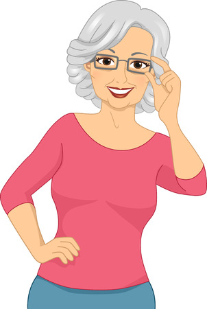 Illustration of an Elderly Woman Wearing a Pair of Eyeglasses Stock Photo