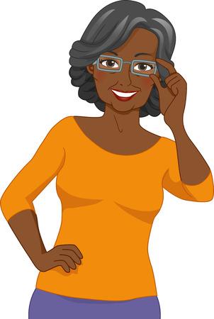 Illustration of a Black Elderly Woman Wearing a Pair of Eyeglasses illustration