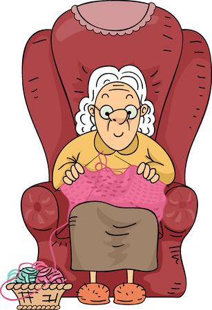 gente sentada: Ilustración de una mujer mayor que hace punto Felizmente su tiempo libre lejos