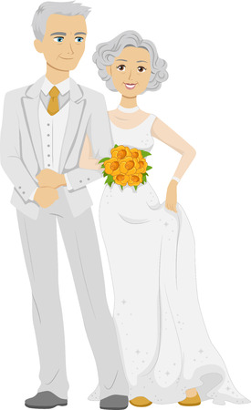 renewal: Illustration of an Elderly Couple Wearing a Bridal Gown and a Tuxedo on Their Golden Wedding Anniversary