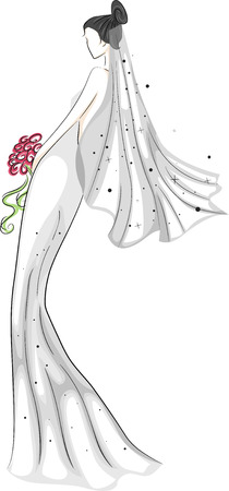 rear view girl: Sketchy Illustration of a Bride in Her Bridal Gown Stock Photo