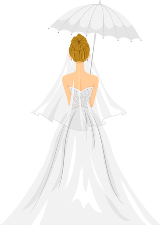 under view: Back View Illustration of a Lovely Bride in Her Wedding Gown Standing Under a White Umbrella Stock Photo