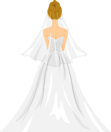 rear view girl: Back View Illustration of a Lovely Bride in Her Wedding Gown