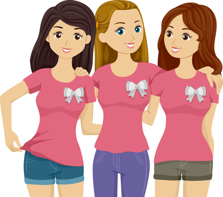 Illustration Featuring Three Beautiful Girls Wearing Identical Pink Shirts illustration