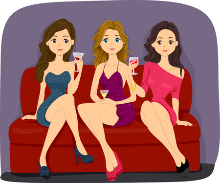 Illustration Featuring Three Lovely Women in Sexy Outfits Having a Drink at a Bar