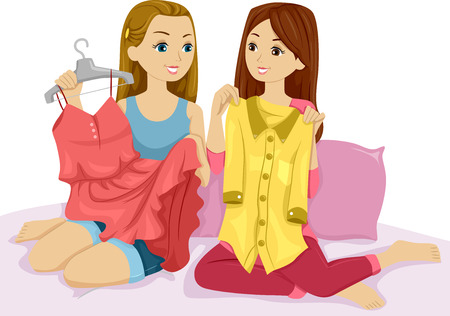 swapping: Illustration of a Pair of Girls Swapping Clothes