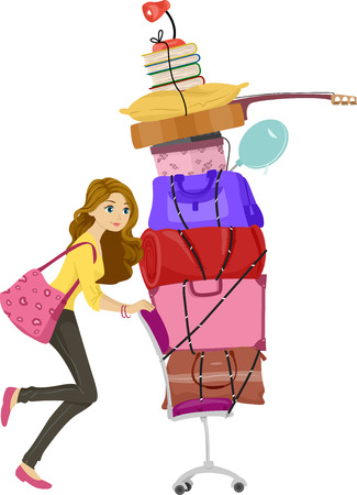 dorm: Illustration of a Girl Moving a Tall Stack of Bags and Other Belongings During Her Move to the Dorm