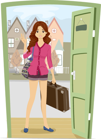 piece of luggage: Illustration of a Girl Carrying a Piece of Luggage Coming Over to Her Friends House for a Visit Stock Photo