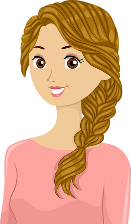 braided hair: Illustration of a Beautiful Woman Sporting Braided Hair Stock Photo