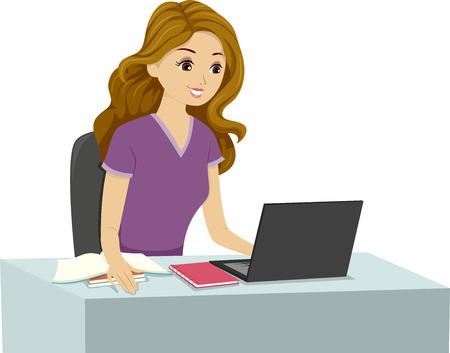 Illustration of a Studying Girl Reading Something on Her Laptop illustration