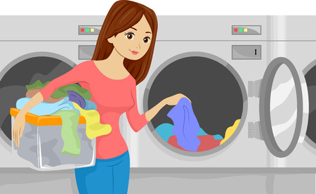 Illustration of a Girl Placing Laundry in a Washing Machine at a Laundromat Stock Photo