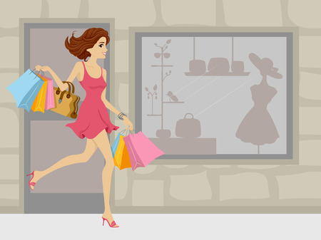 Illustration of a Girl on a Shopping Spree illustration