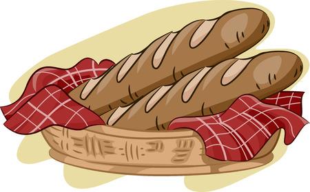 canasta de panes: Ilustración que ofrece una cesta de Baguette Foto de archivo