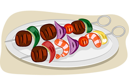 kebab: Illustration Featuring a Pair of Kebabs on a Plate Stock Photo