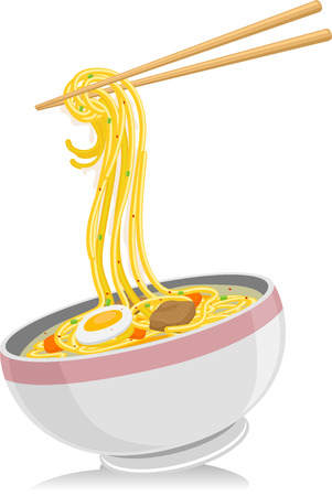 Illustration of a Bowl of Noodles with a Pair of Chopsticks Hovering Above