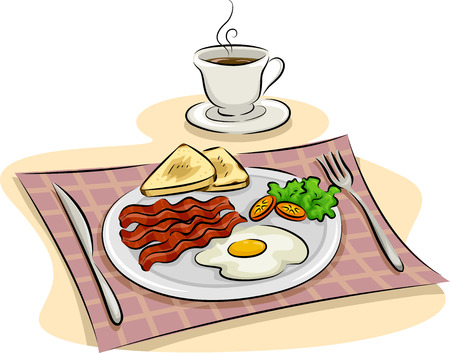 bacon art: Illustration Featuring a Traditional English Breakfast