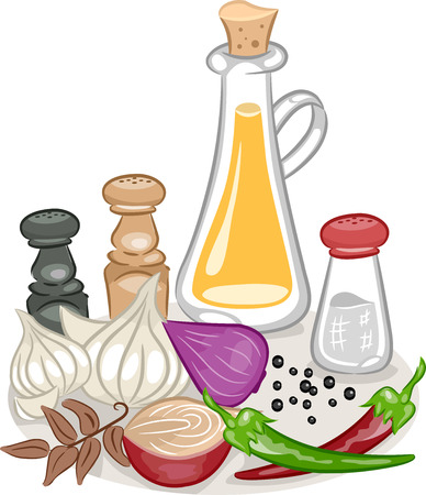condiments: Illustration Featuring a Variety of Spices and Condiments