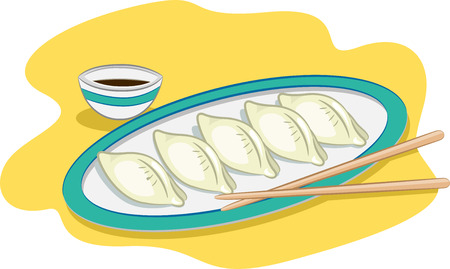 side dish: Illustration of a Plate of Dumplings with a Pair of Chopsticks and a Small Bowl of Condiment Resting on the Side