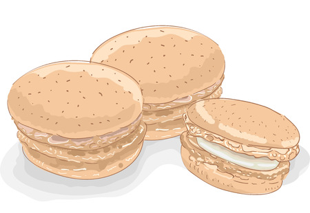 fillings: Sketchy Illustration Featuring Macaroons Oozing with Fillings