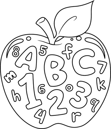 Coloring Book Illustration Featuring an Apple with Numbers and Letters Printed on it