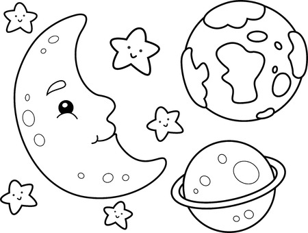 coloring book page: Coloring Book Illustration Featuring Different Heavenly Bodies