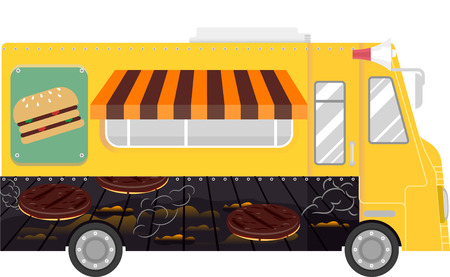 specialty store: Colorful Illustration of a Food Truck That Specializes in Selling Burgers Stock Photo